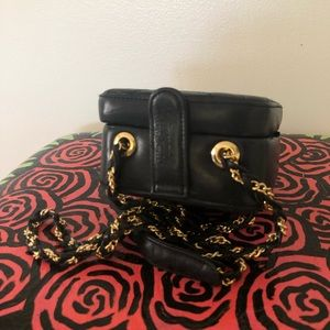 Vintage Giorgio Beverly Hills Black Leather Bag